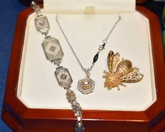 14k Art Deco w Diamonds, 14k with Diamonds, 14k Pin