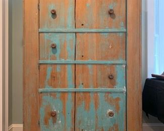Antique Cupboard with Distressed Paint