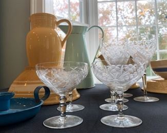 Antique Yellow Ware Collection, Etched Stemware