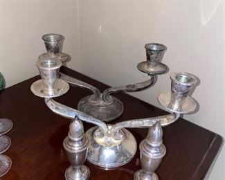 STERLING SILVER CANDLE HOLDERS AND SALT & PEPPER SHAKERS