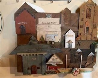 "All wood ""town"" wall artwork.. Very detailed and interesting"