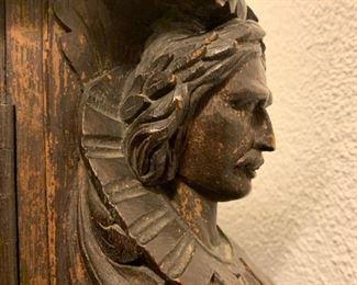 Carved Figural Partners Desk Attributed to R.J. Horner