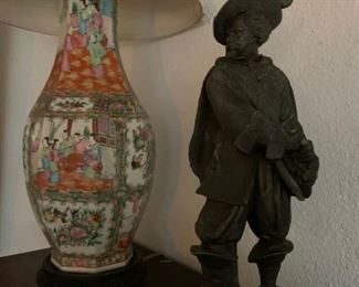 Chinese Export Rose Medallion Chinese Export Pottery Lamp, Spanish Explorer, Sculpture