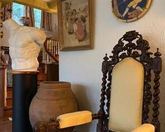 Carved Spanish Revival Armchair, Moravian Pottery Season's Tiles, Laocoon Torso, Hiram Campbell Merrill
