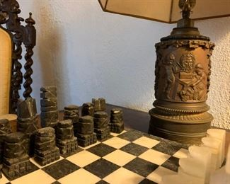 Marble Chess Set, Electrified Oil Lamp in Bronze with Engraved Copper Figures