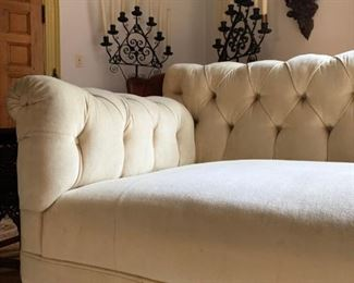 Chesterfield Sofa, Cast Iron Standing Candelabra, PAIR, After Cyril Colnick