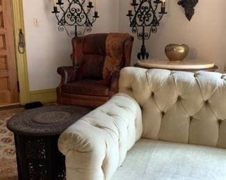 Chesterfield Sofa, Hand Carved Folding Accent Table, Cast Iron Standing Candelabra, PAIR, After Cyril Colnick