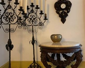 Cast Iron Standing Candelabra, PAIR, After Cyril Colnick