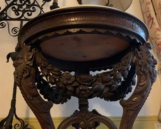 Figural Carved Marble Top Table