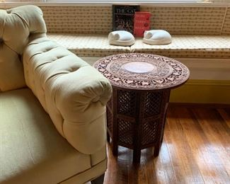Chesterfield Sofa, Hand Carved Folding Accent Table