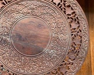 Hand Carved Folding Accent Table