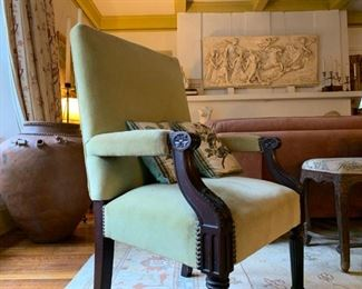 Carved Frame Armchair with Nail Head Detail, Plaster Cast After Guido Reni, Aurora