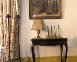 Hiram Campbell Merrill, Flip Top Card Table, Marble Lamp, Cast Iron Floor Standing Candle Holders