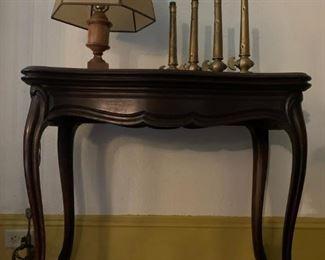 Flip Top Card Table, Marble Lamp, Brass Fire Nozzle, Henry K Barnes, Boston