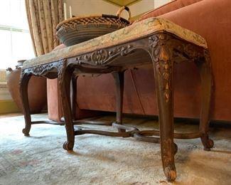 Carved Leg Upholstered Bench