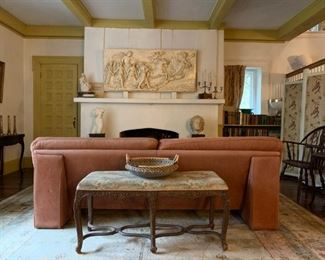 Plaster Cast After Guido Reni, Aurora, Italian Leather Sofa, Carved Leg Upholstered Bench