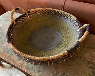 Pottery Base with Basket Weave