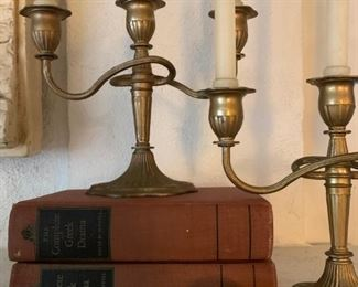 Antique Paperweight, Brass Candlelabras, Antique Books
