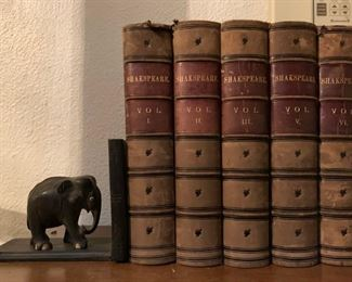 Shakespeare, Antique Books, Carved Wood Elephant Bookends