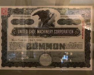 """Stock Certificate from The United Shoe Manufacturing Corp Beverly, MA, Known Locally as """"The Shoe"""""""