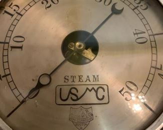 Brass Steam Gage, 8 &1/2 Inch, Star Brass Manufacturing Co, United Shoe Manufacturing Corp