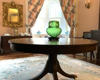 Round Mahogany Pedestal Table, Dhurrie Flat Weave Rug