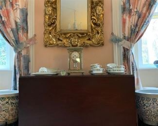 Carved Giltwood Mirror, Sheraton Style Inlaid Gate Leg Table