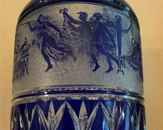 Bohemian Czech Cut Crystal Vase with Greek Motif