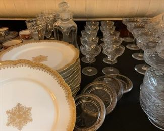 W. Guerin and Co Porcelain, Antique Etched Crystal Stemware