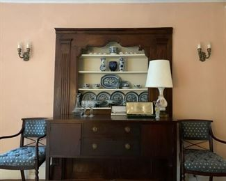 Mahogany Sideboard, Empire Style Bent Arm Armchairs