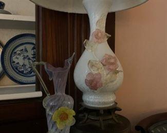 Antique Hand Blown Glass Vase, Murano Glass Lamp