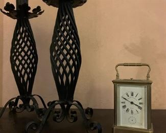 19th C Wrought Iron Candle Holders, Bigelow Kennard Brass Carriage Clock
