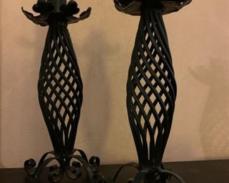 19th C Wrought Iron  Candle Holders