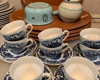 English Blue and White Tea Cups, Finland Enamelware