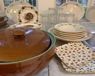 Antique Bean Pot, Spode Platters, Serving Pieces