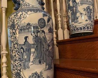 Blue and White Floor Vases, Pair