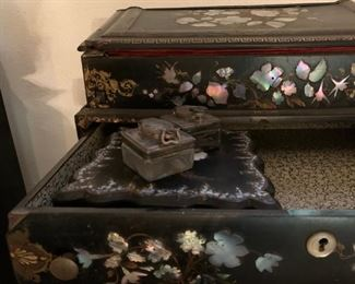 Paper Mache and Mother of Pearl Inlaid Desk