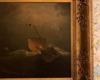 Ship in a Storm, Robert Salmon, Oil on Canvas, 1840