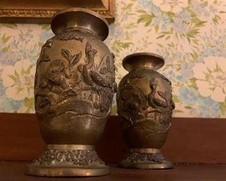Bronze Vases, PAIR