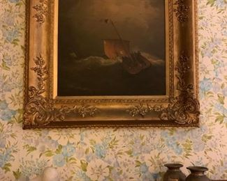 Ship in a Storm, Robert Salmon, Oil on Canvas, 1840, V Robinson, Sculpture