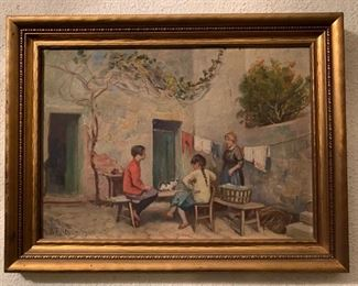 B.T. Newman, Gossip Corner at Cassis, 1935