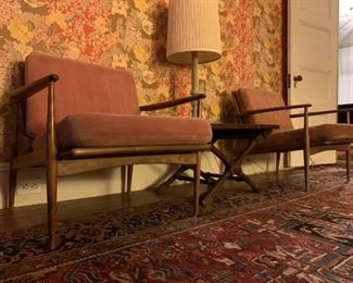 1930's Heriz Room Rug, Selig Style Mid Century Chairs, Pair