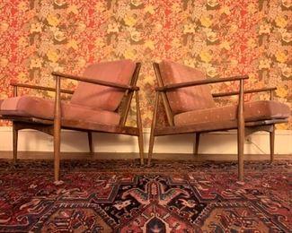 1930's Heriz Room Rug, Selig Style Midcentury Chairs, PAIR