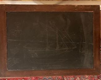 Stand with Engraved Slate Inset, Clipper Ship