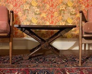 1930's Heriz Room Rug, Selig Midcentury Chairs, PAIR