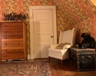 1930's Heriz Room Rug, Maple Six Drawer Chest, Antique Trunk, Wingback Armchair