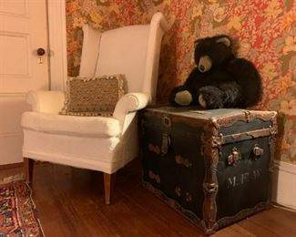 Wingback Armchair, Antique Travel Trunk