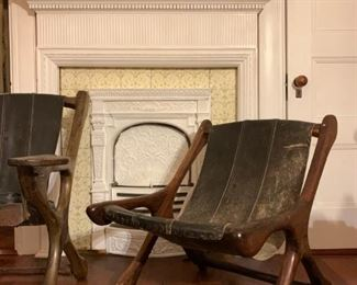 RARE, SET, Leather and Mahogany 'Swing' Chair from Don Shoemaker