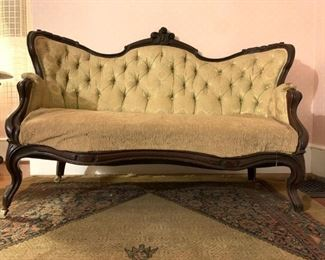 Tufted Back Chippendale Sofa