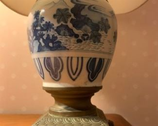 Blue and White Export Pottery Lamp with Brass Base